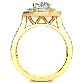2 Carat Double Halo Round Diamond Engagement Ring in 14 Karat Yellow Gold