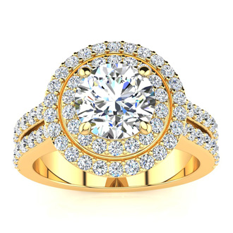2 1/2 Carat Double Halo Round Diamond Engagement Ring in 14 Karat Yellow Gold