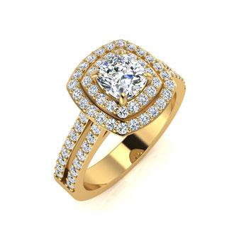 1 1/2 Carat Double Halo Cushion Cut Diamond Engagement Ring in 14 Karat Yellow Gold