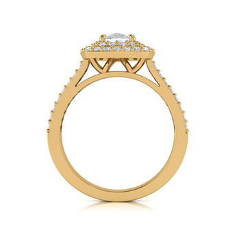 2 Carat Double Halo Cushion Cut Diamond Engagement Ring in 14 Karat Yellow Gold