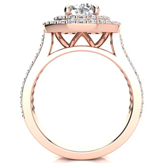 2 Carat Double Halo Round Diamond Engagement Ring in 14 Karat Rose Gold