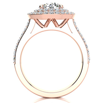 2 1/2 Carat Double Halo Round Diamond Engagement Ring 14 Karat Rose Gold
