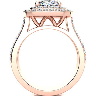 2 1/2 Carat Double Halo Diamond Engagement Ring in 14k Rose Gold