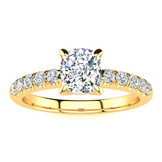 1 1/3 Carat Traditional Diamond Engagement Ring with 1 Carat Center Cushion Cut Solitaire In 14 Karat Yellow Gold