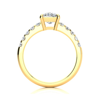 1.80 Carat Traditional Diamond Engagement Ring with 1 1/2 Carat Center Cushion Cut Solitaire In 14 Karat Yellow Gold