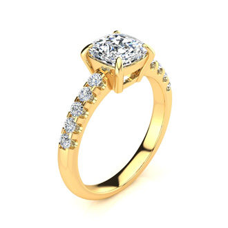 2 1/3 Carat Traditional Diamond Engagement Ring with 2 Carat Center Cushion Cut Solitaire In 14 Karat Yellow Gold