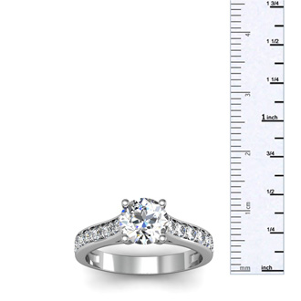 1 1/2 Carat Classic Engagement Ring With 1 Carat Center Diamond In 14K White Gold