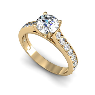 1.50 Carat Classic Engagement Ring With 1 Carat Center Diamond In 14K Yellow Gold