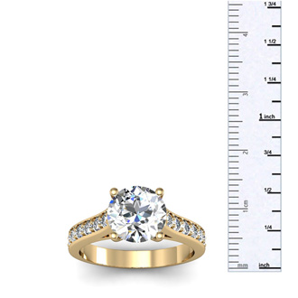 2.50 Carat Classic Engagement Ring With 2.00 Carat Center Diamond In 14K Yellow Gold