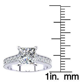 1.50 Carat Solitaire Engagement Ring With 1 Carat Princess Cut Center Diamond In 14K White Gold