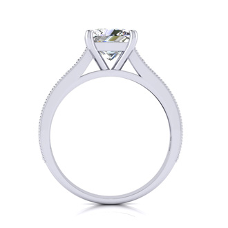 2.00 Carat Solitaire Engagement Ring With 1.50 Carat Princess Cut Center Diamond In 14K White Gold