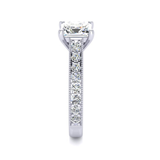 2.50 Carat Solitaire Engagement Ring With 2.00 Carat Princess Cut Center Diamond In 14K White