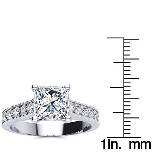 2 1/2 Carat Diamond Engagement Ring With 2 Carat Princess Cut Center Diamond In 14K White Gold