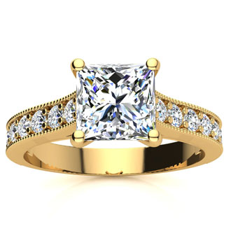 2 Carat Diamond Engagement Ring With 1 1/2 Carat Princess Cut Center Diamond In 14K Yellow Gold