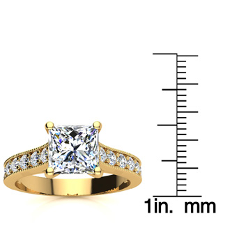 2 1/2 Carat Diamond Engagement Ring With 2 Carat Princess Cut Center Diamond In 14K Yellow Gold