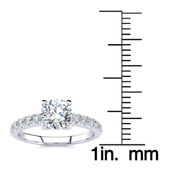 1.30 Carat Traditional Diamond Engagement Ring with 1 Carat Center Round Solitaire In 14 Karat White Gold