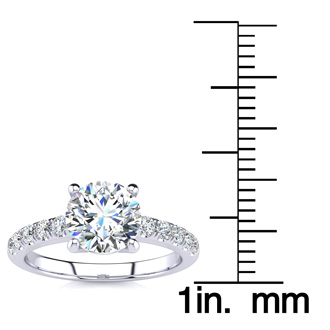 1 3/4 Carat Traditional Diamond Engagement Ring with 1 1/2 Carat Center Round Solitaire In 14 Karat White Gold