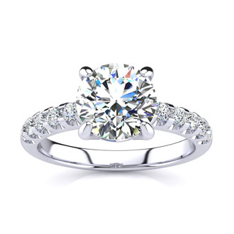 2.30 Carat Traditional Diamond Engagement Ring with 2 Carat Center Round Solitaire In 14 Karat White Gold