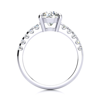 2 1/3 Carat Traditional Diamond Engagement Ring with 2 Carat Center Round Solitaire In 14 Karat White Gold