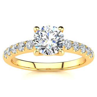 1 1/3 Carat Traditional Diamond Engagement Ring with 1 Carat Center Round Solitaire In 14 Karat Yellow Gold