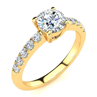 1.30 Carat Traditional Diamond Engagement Ring with 1 Carat Center Round Solitaire In 14 Karat Yellow Gold