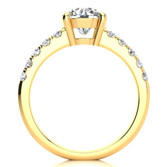 1 3/4 Carat Traditional Diamond Engagement Ring with 1 1/2 Carat Center Round Solitaire In 14 Karat Yellow Gold