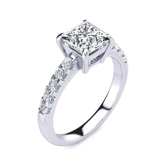 1.80 Carat Traditional Diamond Engagement Ring with 1 1/2 Carat Center Princess Cut Solitaire In 14 Karat White Gold