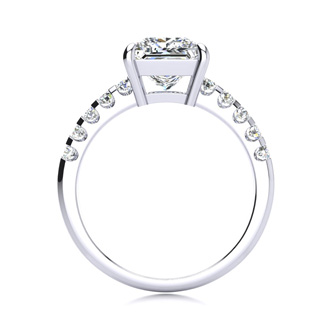 2 1/2 Carat Traditional Diamond Engagement Ring with 2.15 Carat Center Princess Cut Solitaire In 14 Karat White Gold