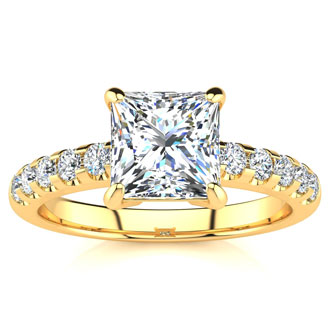1 3/4 Carat Traditional Diamond Engagement Ring with 1 1/2 Carat Center Princess Cut Solitaire In 14 Karat Yellow Gold