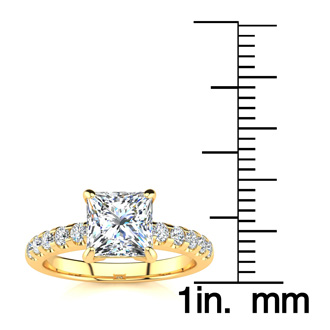 1.80 Carat Traditional Diamond Engagement Ring with 1 1/2 Carat Center Princess Cut Solitaire In 14 Karat Yellow Gold