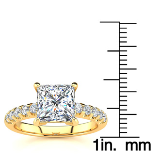2.30 Carat Traditional Diamond Engagement Ring with 2 Carat Center Princess Cut Solitaire In 14 Karat Yellow Gold