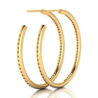 14K Yellow Gold 1 Carat Diamond Three Quarter Hoop Earrings