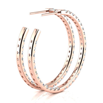 14K Rose Gold 3 Carat Diamond Three Quarter Hoop