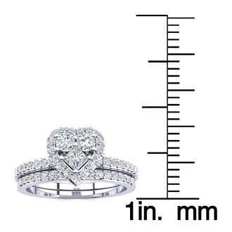 1/2 Carat Heart Halo Diamond Bridal Set in White Gold