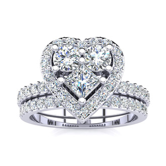 1 Carat Heart Halo Diamond Bridal Set in 14k White Gold