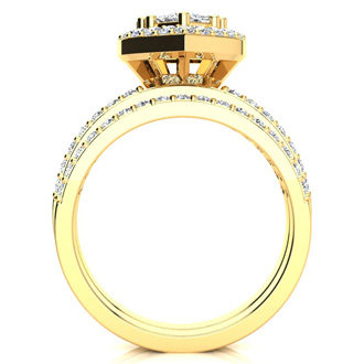 1 Carat Heart Halo Bridal Set in 14k Yellow Gold