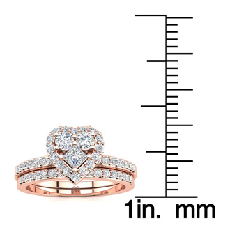 1/2 Carat Heart Halo Diamond Bridal Set in Rose Gold
