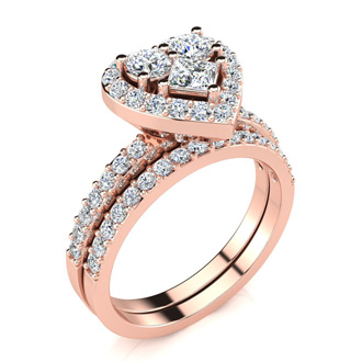 1 Carat Heart Halo Diamond Bridal Set in 14k Rose Gold