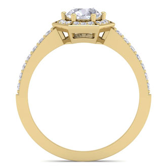 1 Carat Halo Diamond Engagement Ring In 14 Karat Yellow Gold