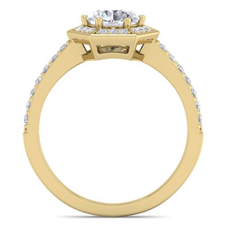 1 1/2 Carat Halo Diamond Engagement Ring In 14 Karat Yellow Gold
