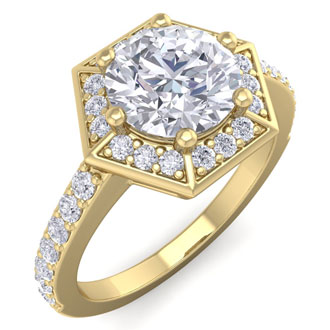 2.00 Carat Designer Engagement Ring Including 1.50 Carat Round Brilliant Center Diamond In 14 Karat Yellow Gold