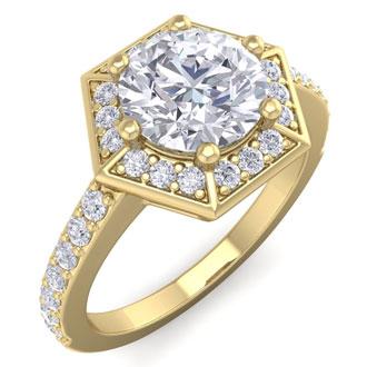 2 1/2 Carat Halo Diamond Engagement Ring In 14 Karat Yellow Gold