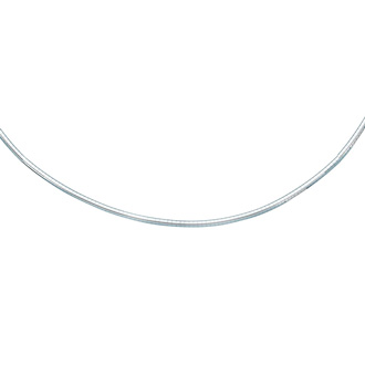 14 Karat White Gold 3.0mm 20 Inch Round Omega Chain Necklace