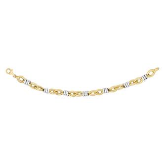 14 Karat Yellow & White Gold 8.8mm 7.75 Inch Two-Tone Fancy Link Chain Bracelet