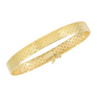 14 Karat Yellow Gold 8.0mm 8 Inch Brick Omega Fancy Bracelet