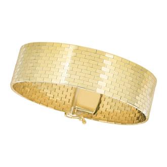 14 Karat Yellow Gold 17.0mm 7 Inch Brick Omega Fancy Bracelet