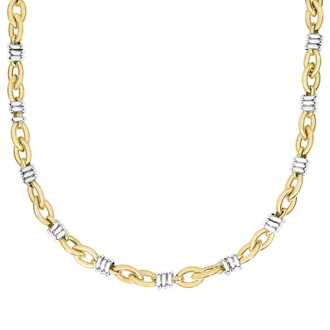 14 Karat Yellow & White Gold 8.9mm 18 Inch Two-Tone Fancy Link Chain Necklace