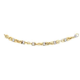 14 Karat Yellow & White Gold 9.7mm 7.50 Inch Two-Tone Barrel Fancy Link Chain Bracelet