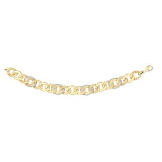 14 Karat Yellow & White Gold 7.50 Inch Brush-Finish Popcorn Trim Link Chain Bracelet