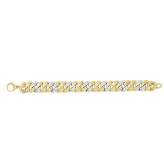 14 Karat Yellow & White Gold 14.8mm 7.50 Inch Twisted Flat Double Round Link Fancy Bracelet